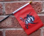 HAND WAVING FLAG (SMALL) - Pirate red with Skull